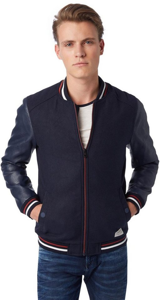 TOM TAILOR DENIM Jacke »Bomber Jacke in Woll-Optik« in night sky blue