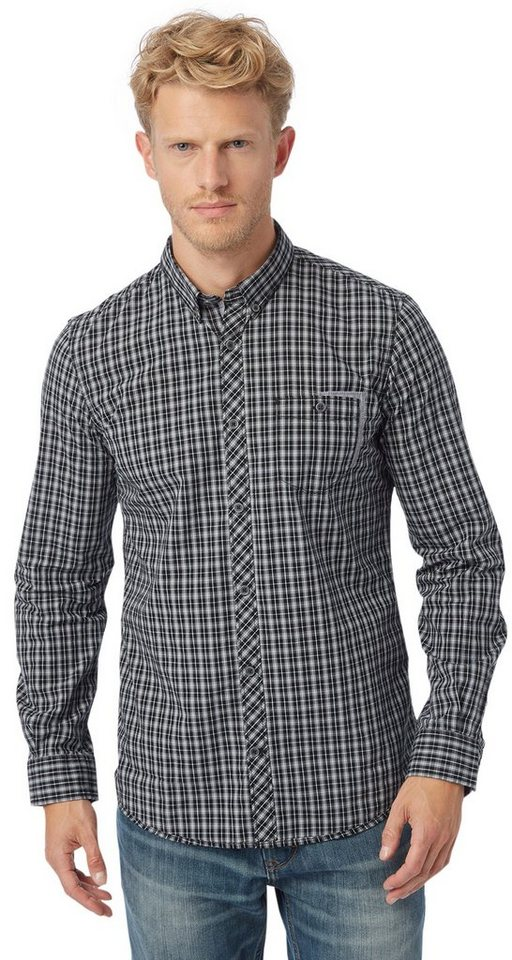 TOM TAILOR Hemd »floyd soft brit check shirt« in almost black