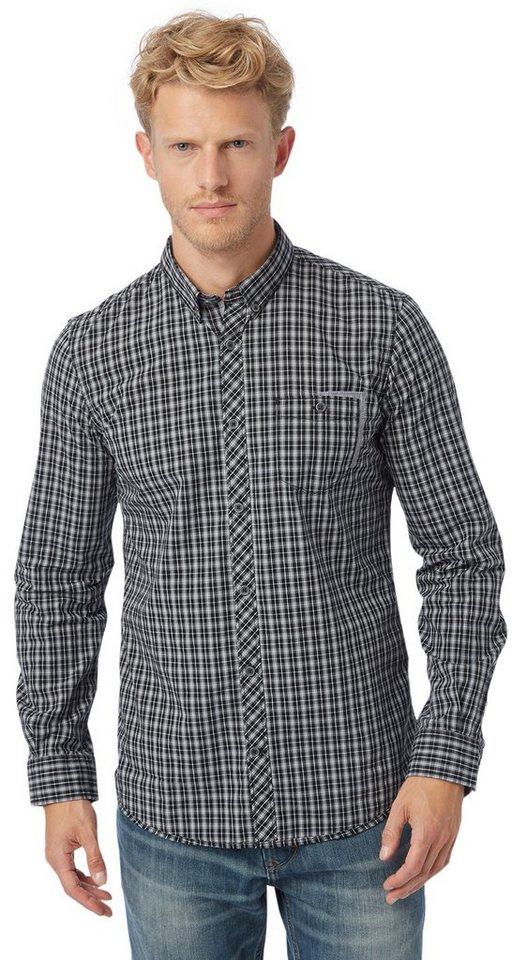TOM TAILOR Hemd »kariertes Button-Down-Hemd« in almost black