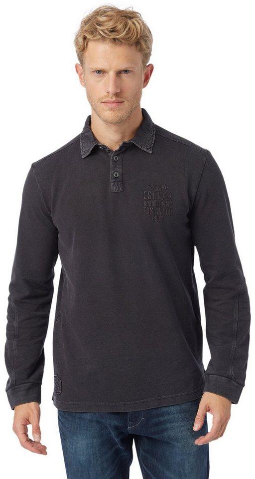 TOM TAILOR Poloshirt »Poloshirt mit Artwork« in almost black