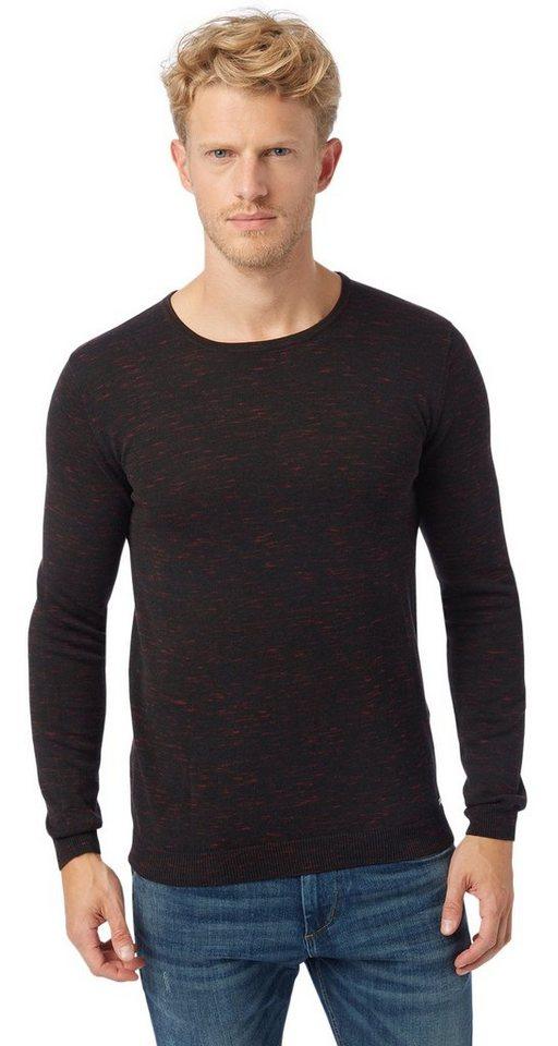 TOM TAILOR Pullover »Pullover in Melange-Optik« in almost black