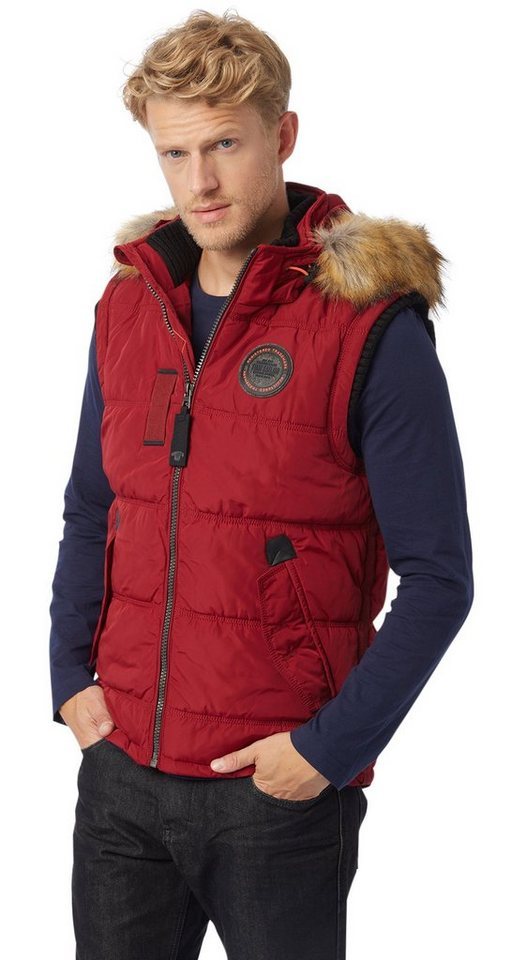 TOM TAILOR Weste »padded vest with hood« in ivy red