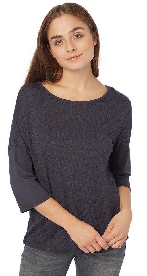 TOM TAILOR T-Shirt »strukturiertes Shirt« in Coal Grey