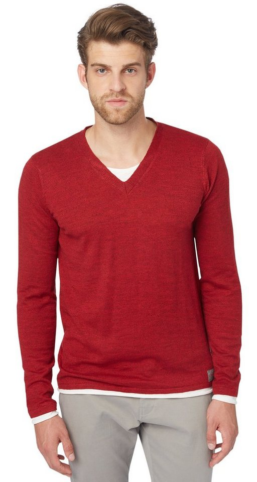 TOM TAILOR Pullover »two-in-one sweater« in Scooter red