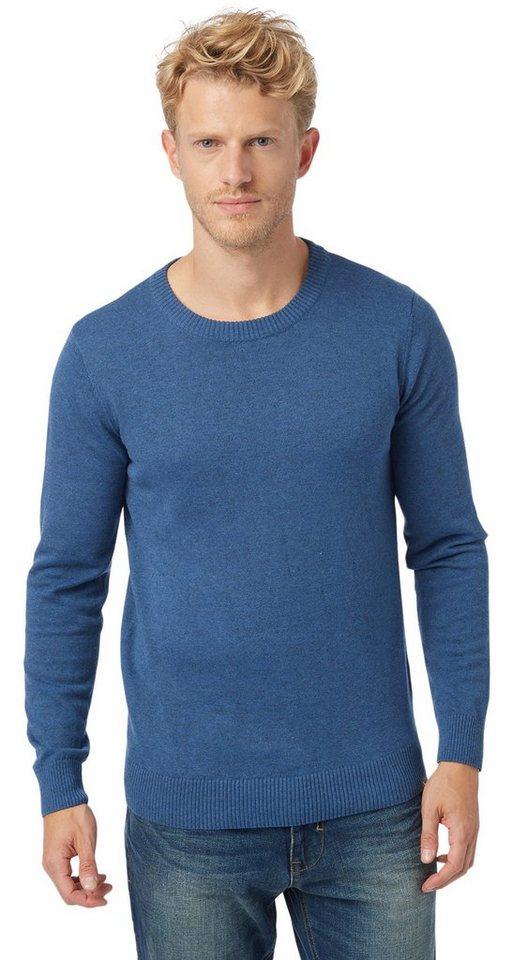 TOM TAILOR Pullover »schlichter Pullover« in indigo blue melange