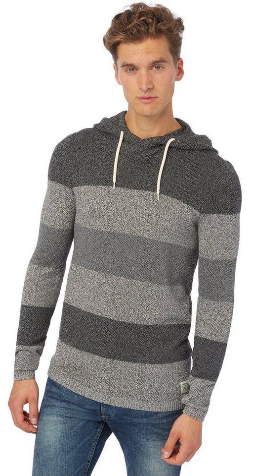 TOM TAILOR DENIM Pullover »grindle colour block hoody« in heather grey melange