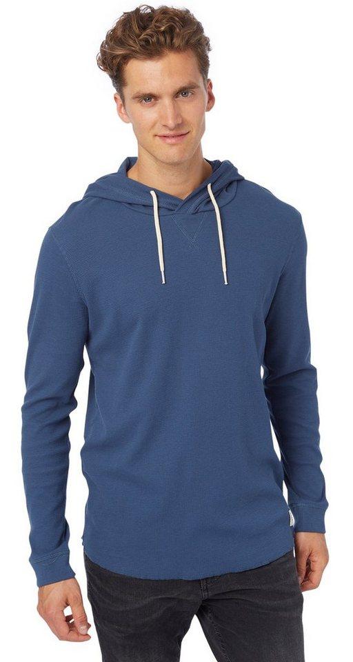 TOM TAILOR DENIM T-Shirt »strukturierter Hoodie« in dark duck blue
