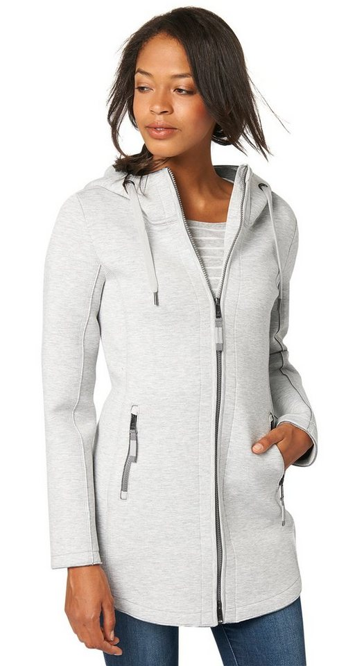 TOM TAILOR Sweatjacke »lange Jersey-Jacke« in light silver melange