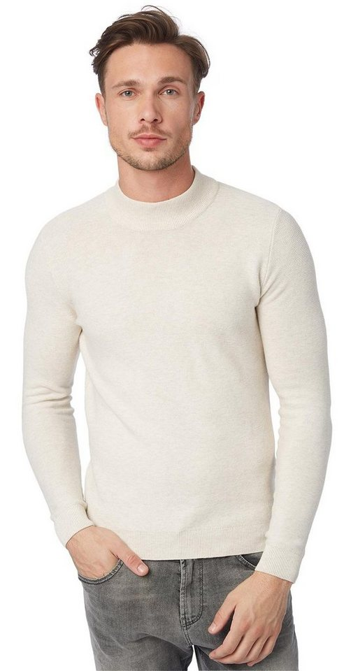 TOM TAILOR Pullover »sweater with blend collar« in casual white melange
