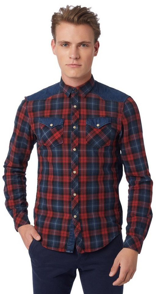 TOM TAILOR DENIM Hemd »fabric mixed check shirt« in indian red