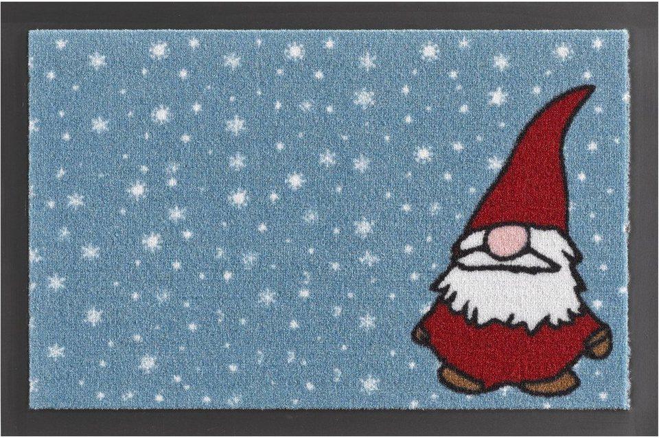 Fußmatte, Hanse Home, »Weihnachtswichtel«, rutschhemmend beschichtet, getuftet in blau rot