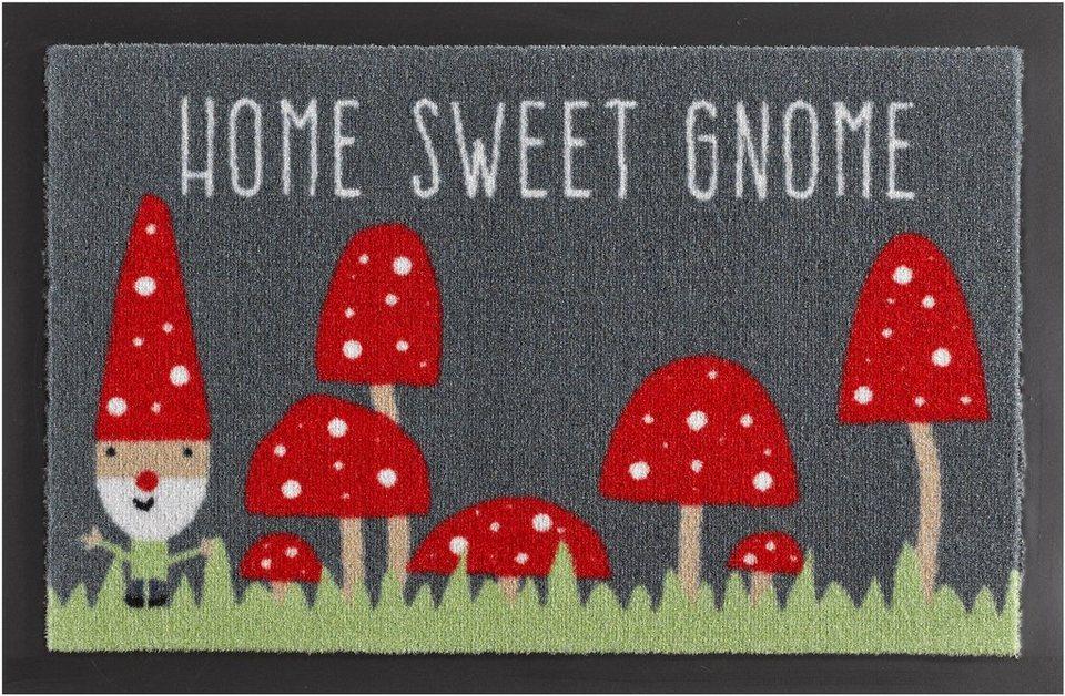 Fußmatte, Hanse Home, »Home Sweet Gnome«, rutschhemmend beschichtet, getuftet in grau rot