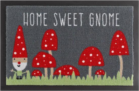 Fußmatte »Home Sweet Gnome«, HANSE Home, rechteckig, Höhe 7 mm, Fussabstreifer, Fussabtreter, Schmutzfangläufer, Schmutzfangmatte, Schmutzfangteppich, Schmutzmatte, Türmatte, Türvorleger, mit Spruch, rutschhemmend beschichtet