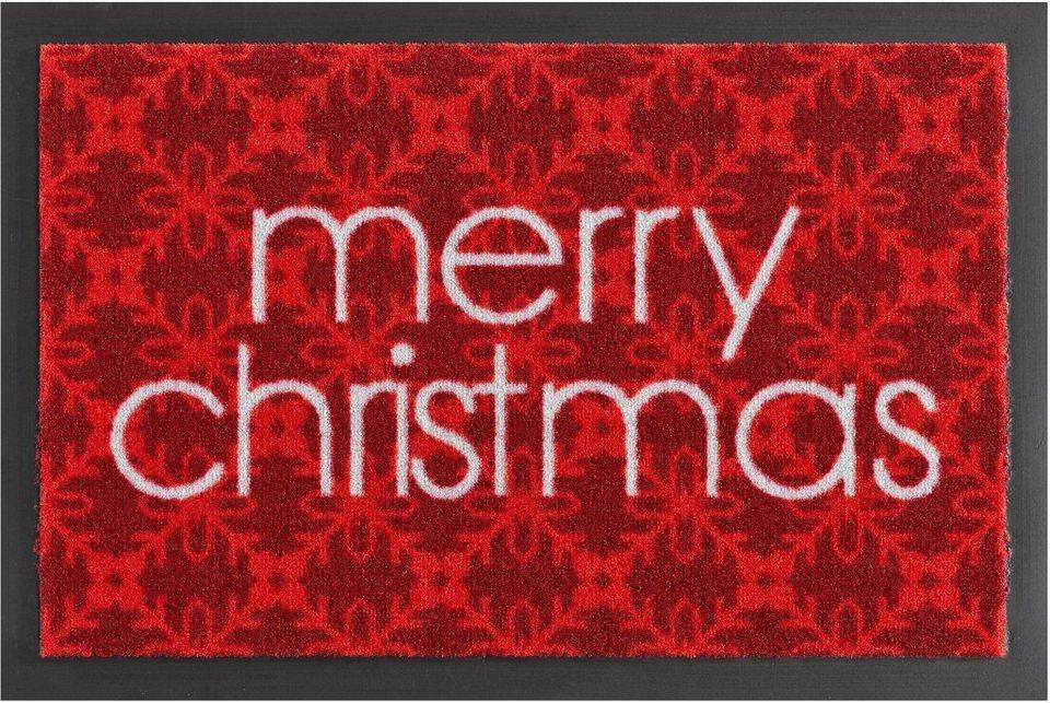 Fußmatte, Hanse Home, »Merry Christmas«, rutschhemmend beschichtet, getuftet in rot