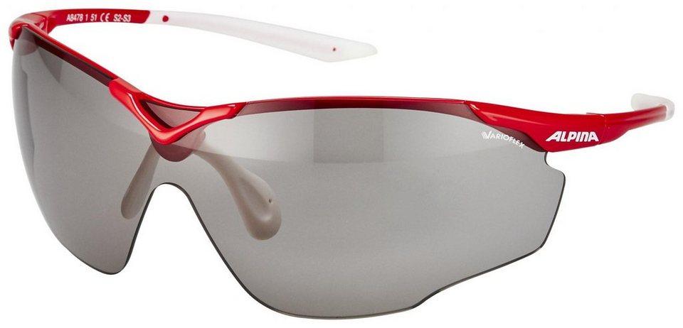 Alpina Radsportbrille »Splinter Shield VL Brille red-white/black« in rot