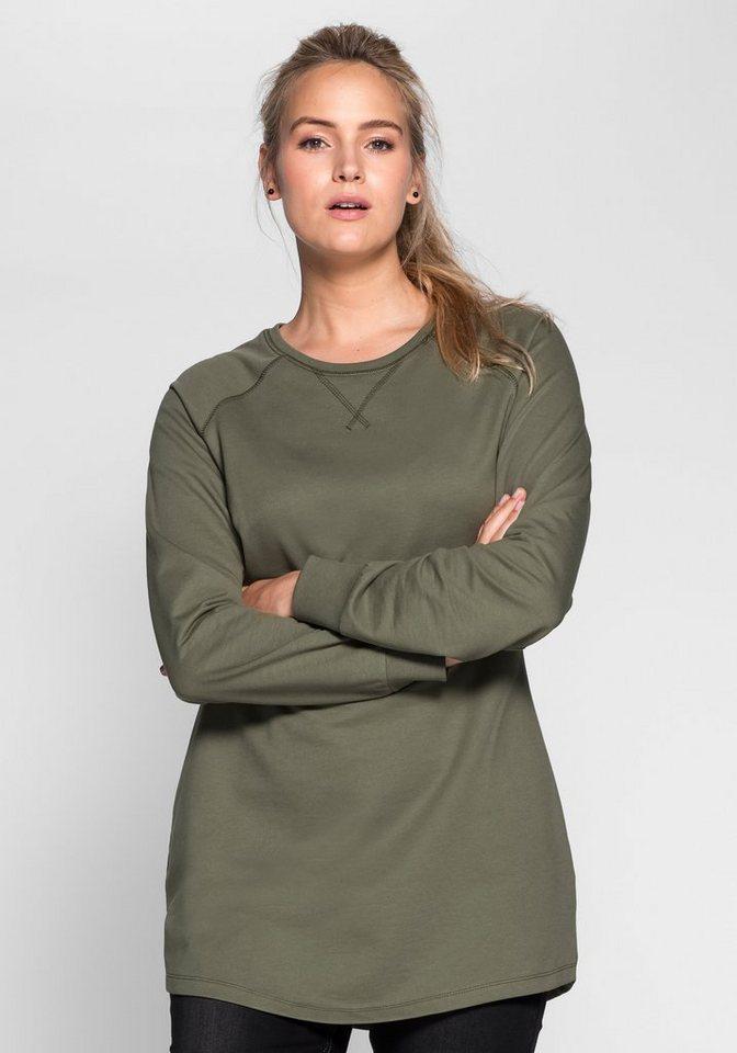 sheego Casual Sweat-Longshirt mit Raglanärmeln in khaki