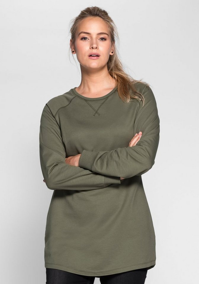 sheego Casual Sweatkleid mit Raglanärmeln in khaki