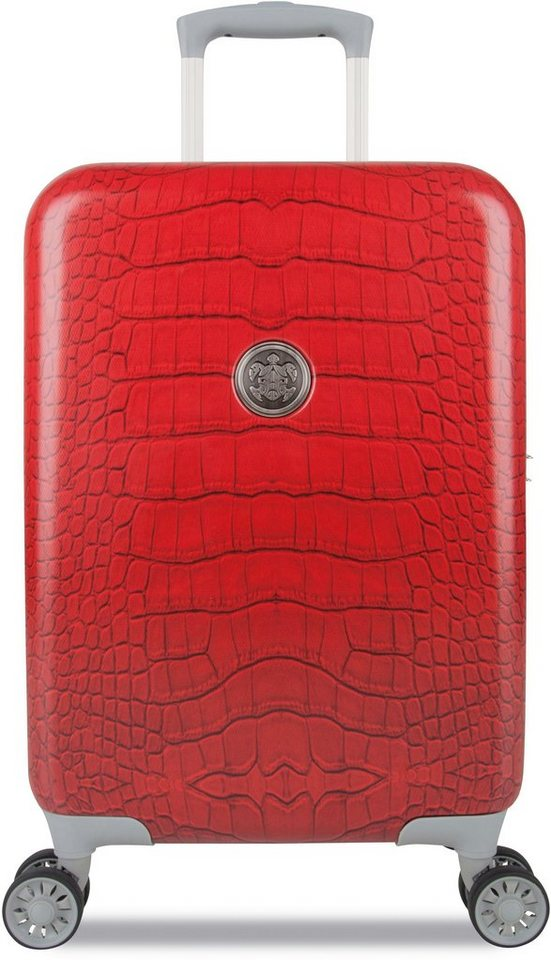 SUITSUIT® Hartschalentrolley mit 4 Rollen, »Red Diamond Crocodile« in rot