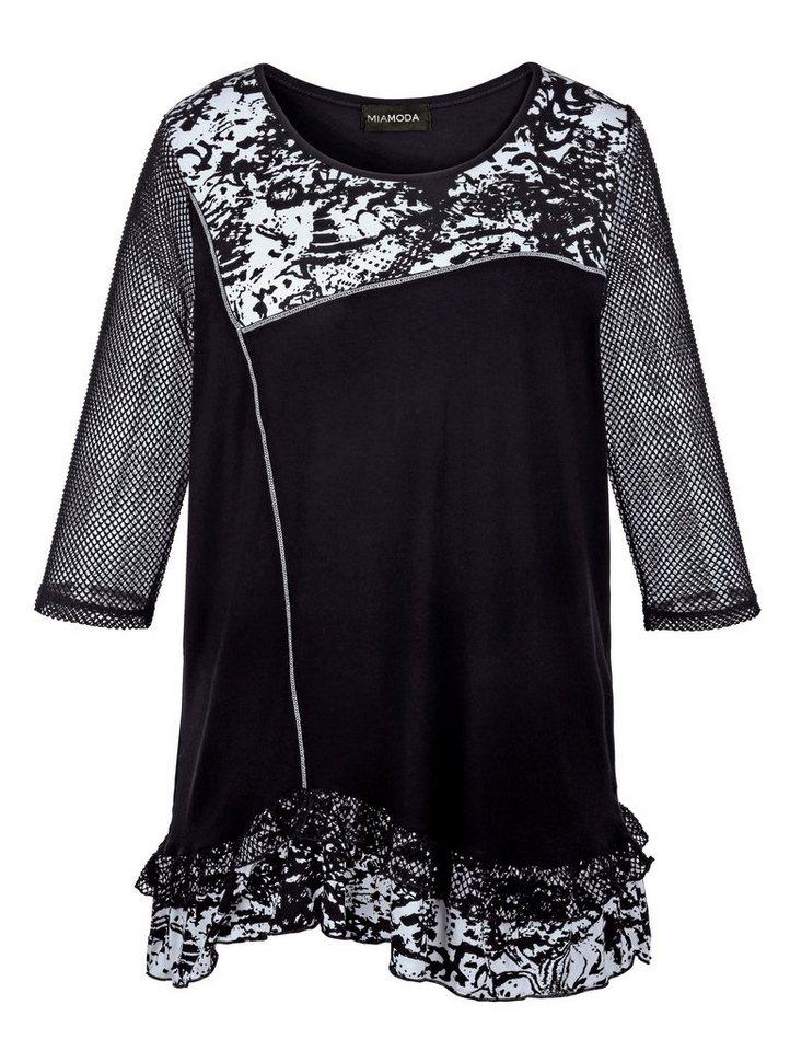 MIAMODA Longshirt mit Netz und verspielten Rüschen in schwarz/weiß bedruckt