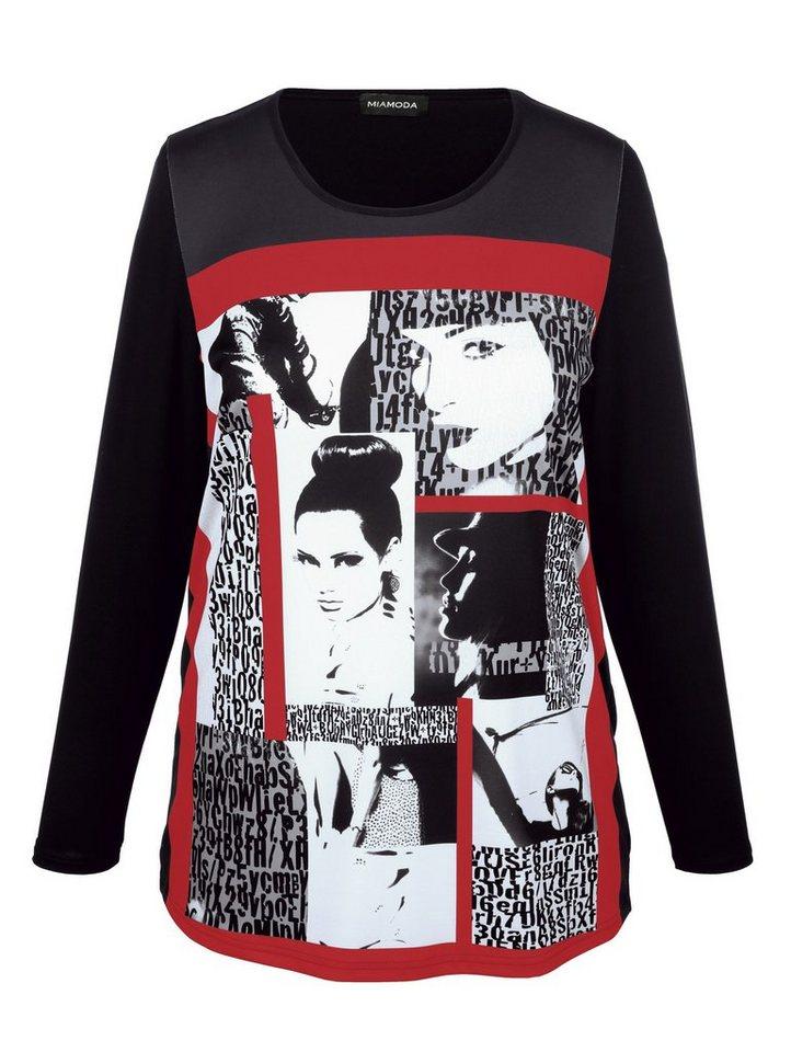 MIAMODA Shirt in schwarz/weiß/rot
