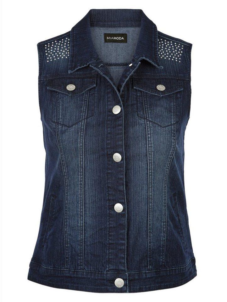 MIAMODA Jeansweste mit Dekosteinen an den Schultern in blue black
