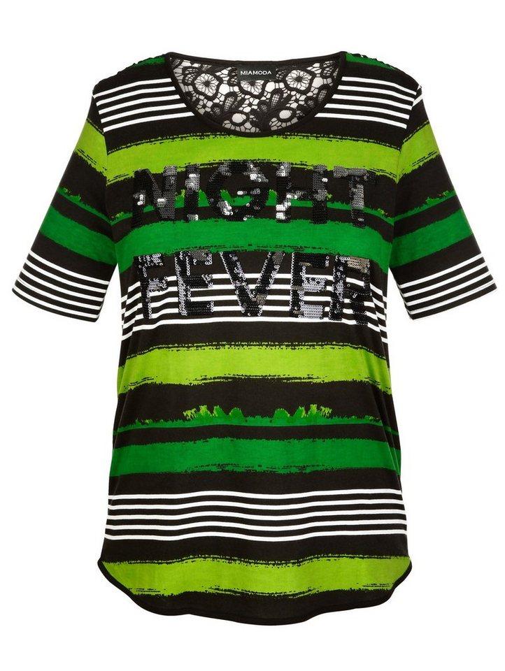 MIAMODA Shirt mit Spitzeneinsatz in grün/schwarz/gestreift