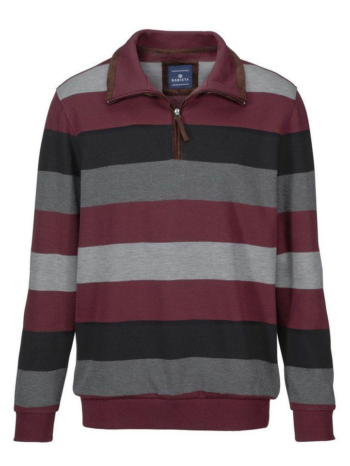 Babista Sweatshirt mit Velours-Besatz in bordeaux-grau