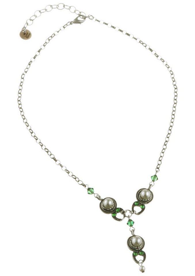 Trachtenkette mit Perlen in silber
