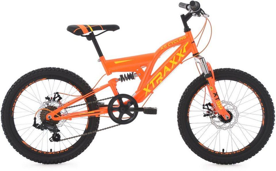 KS Cycling Jugendfahrrad, 20 Zoll, orange-gelb, Shimano 7 Gang-Kettenschaltung, »XTRAXX« in orange