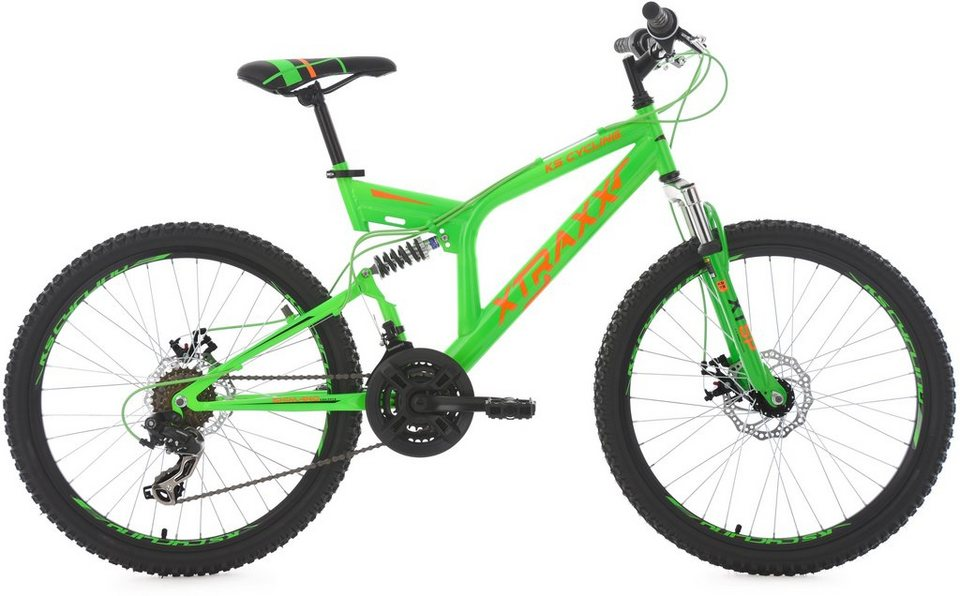 KS Cycling Jugendfahrrad, 24 Zoll, grün-orange, Shimano 21 Gang-Kettenschaltung, »XTRAXX« in grün