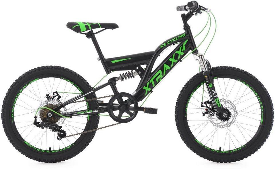 KS Cycling Jugendfahrrad, 20 Zoll, schwarz-grün, Shimano 7 Gang-Kettenschaltung, »XTRAXX« in schwarz