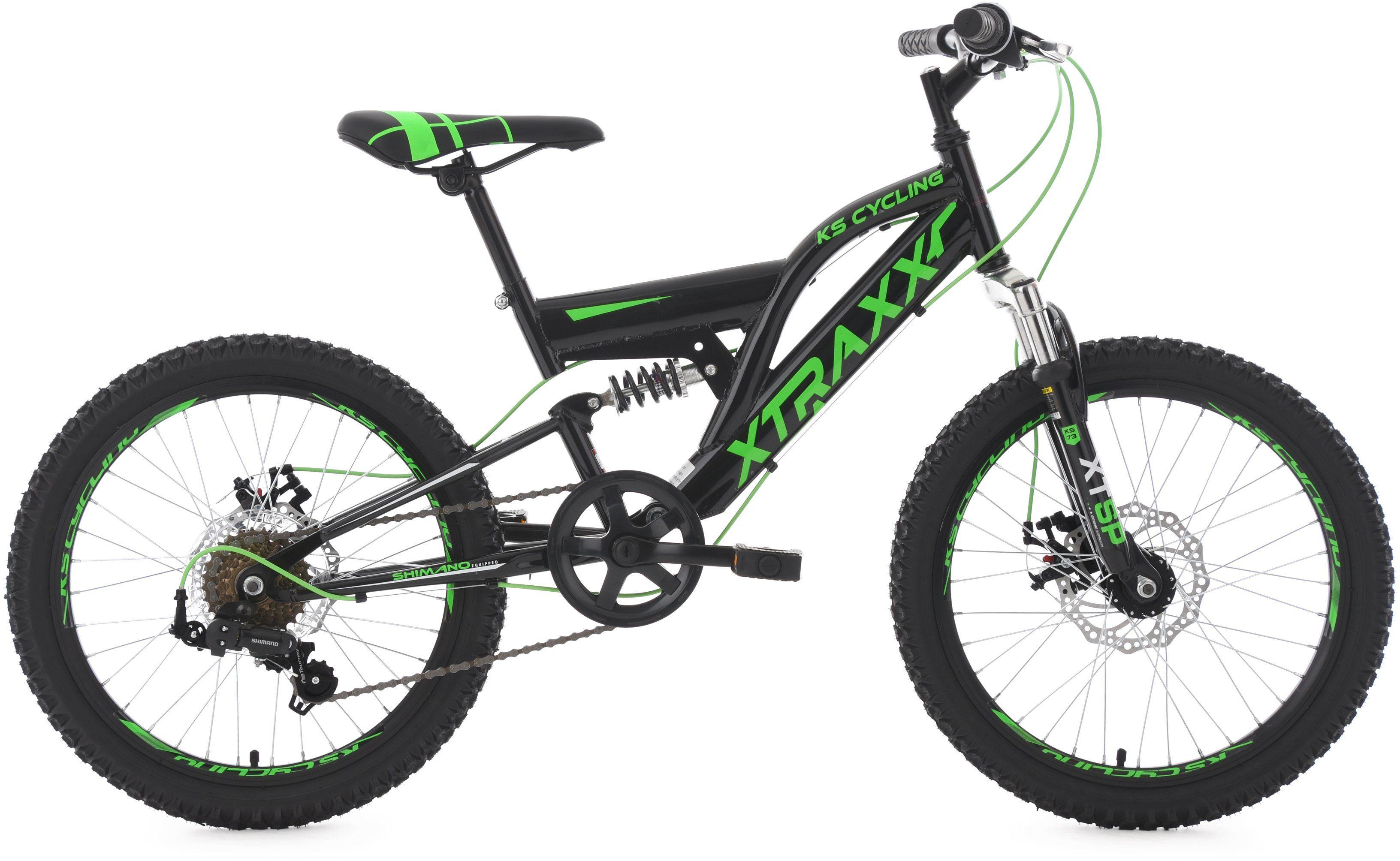 KS Cycling Jugendfahrrad, 20 Zoll, schwarz-grün, Shimano 7 Gang-Kettenschaltung, »XTRAXX«