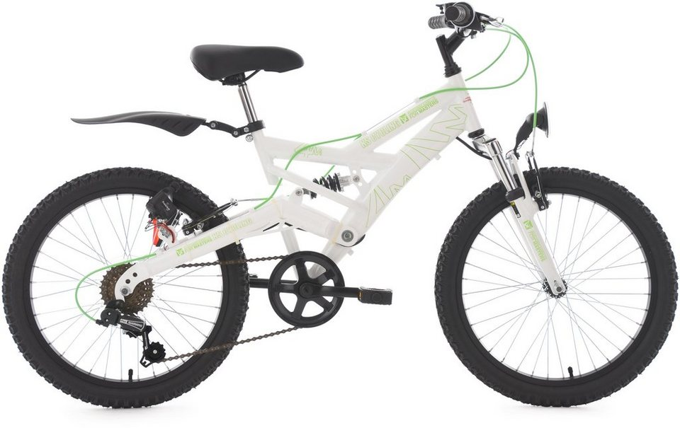 KS Cycling Jugendfahrrad, 20 Zoll, weiß-grün, Shimano 6 Gang-Kettenschaltung, »4Masters« in weiß