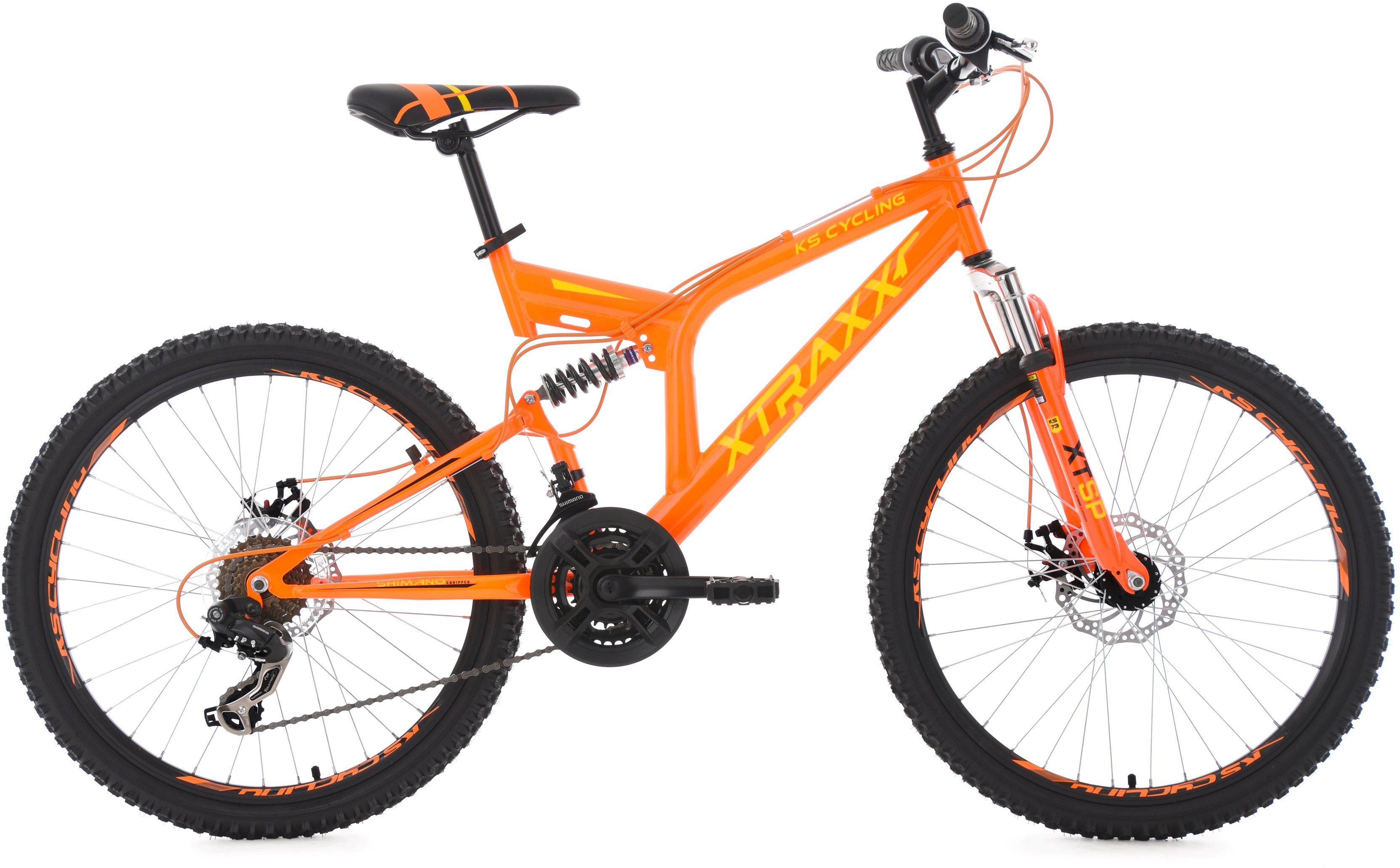 KS Cycling Jugendfahrrad, 24 Zoll, orange-gelb, Shimano 21 Gang-Kettenschaltung, »XTRAXX«