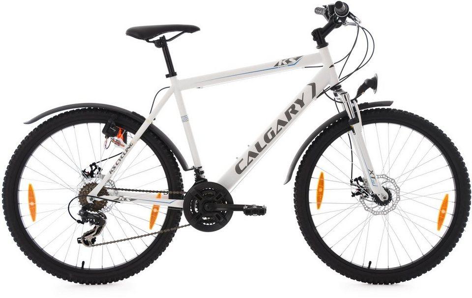 KS Cycling Hardtail-ATB Herren, 26 Zoll, weiß, 21 Gang-Kettenschaltung, »Calgary« in weiß