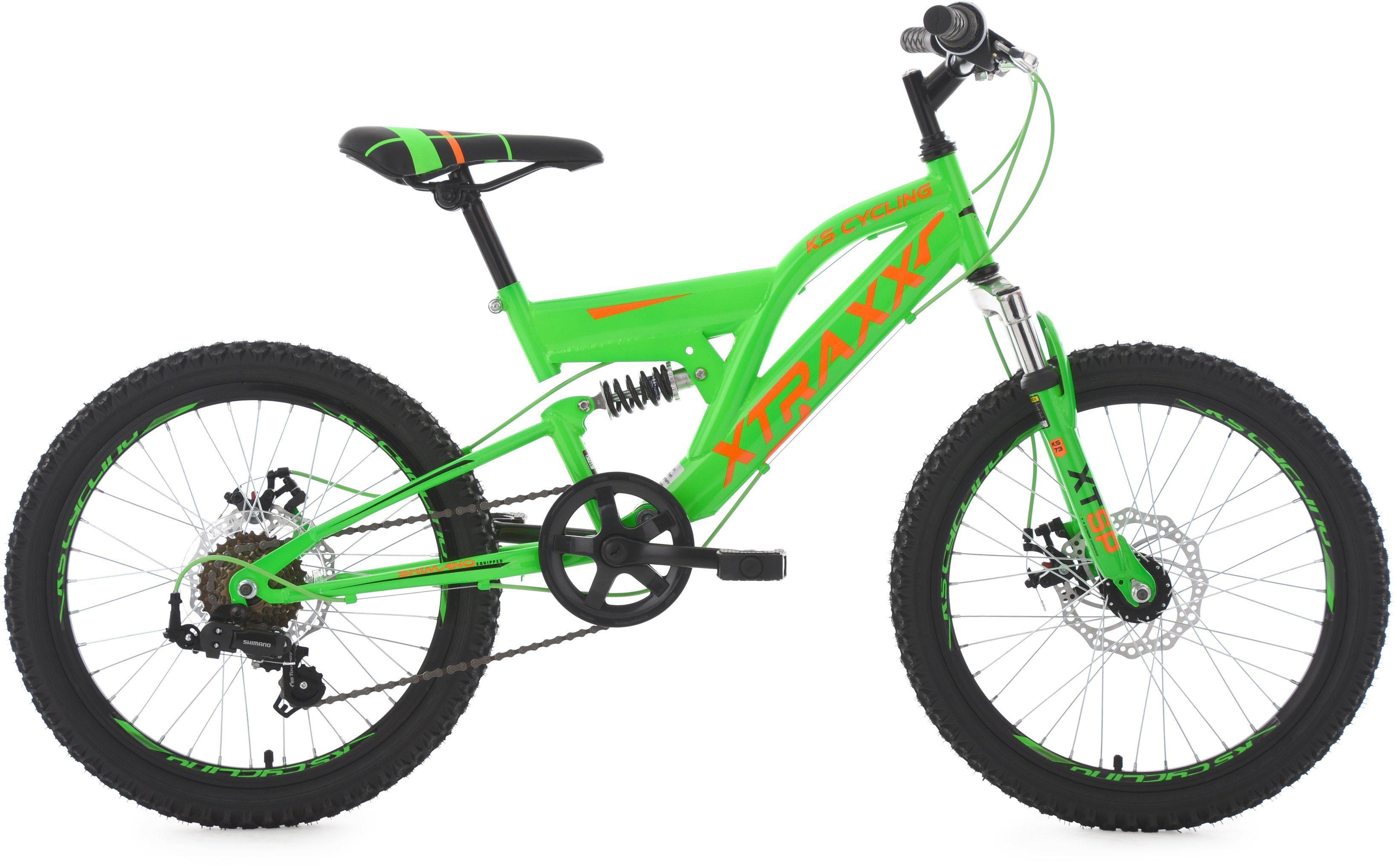 KS Cycling Jugendfahrrad, 20 Zoll, grün-orange, Shimano 7 Gang-Kettenschaltung, »XTRAXX«