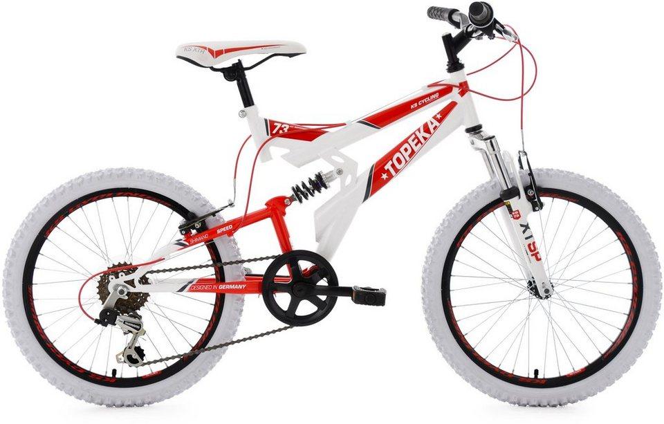 KS Cycling Kinderfahrrad, 20 Zoll, weiß-rot, Shimano 6 Gang-Kettenschaltung, »Topeka« in weiß-rot