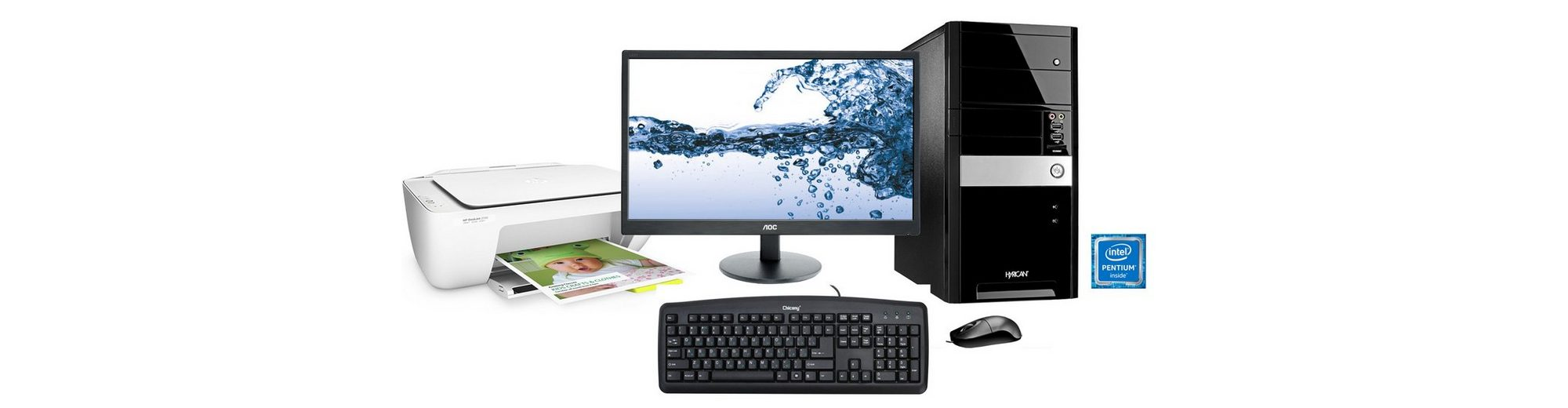Hyrican PC Set, Intel® Pentium® G4400, Office 365, Monitor + Drucker »PC-Set SET01094«