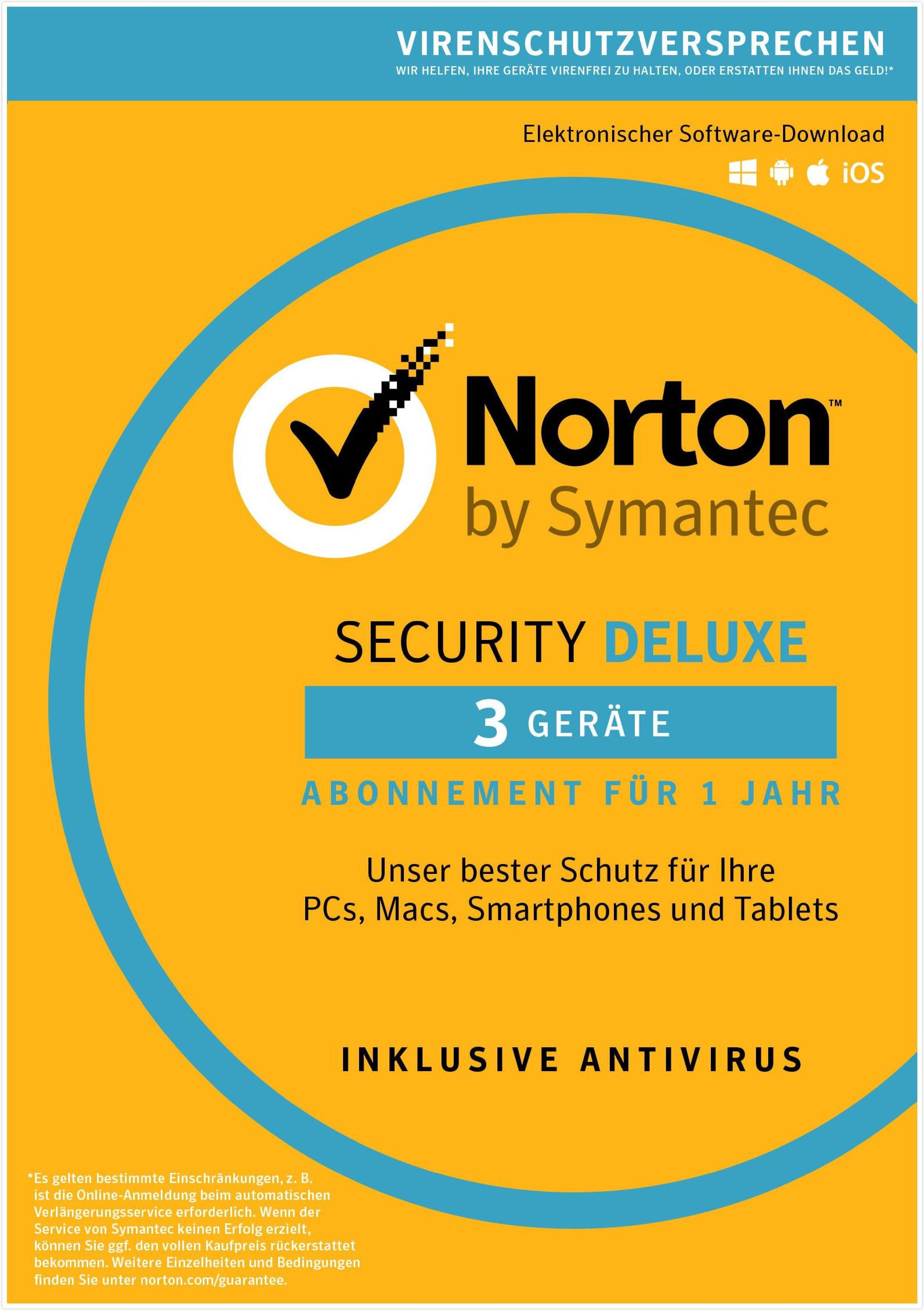 Norton Norton Security Deluxe Antivirus Software 2018 »1 Benutzer, 3 Geräte«