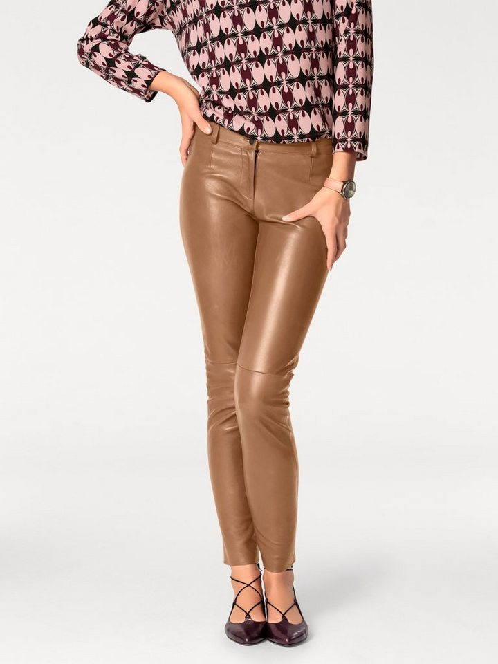 ASHLEY BROOKE by Heine Bodyform-Lederleggings, Lammnappa in cognac