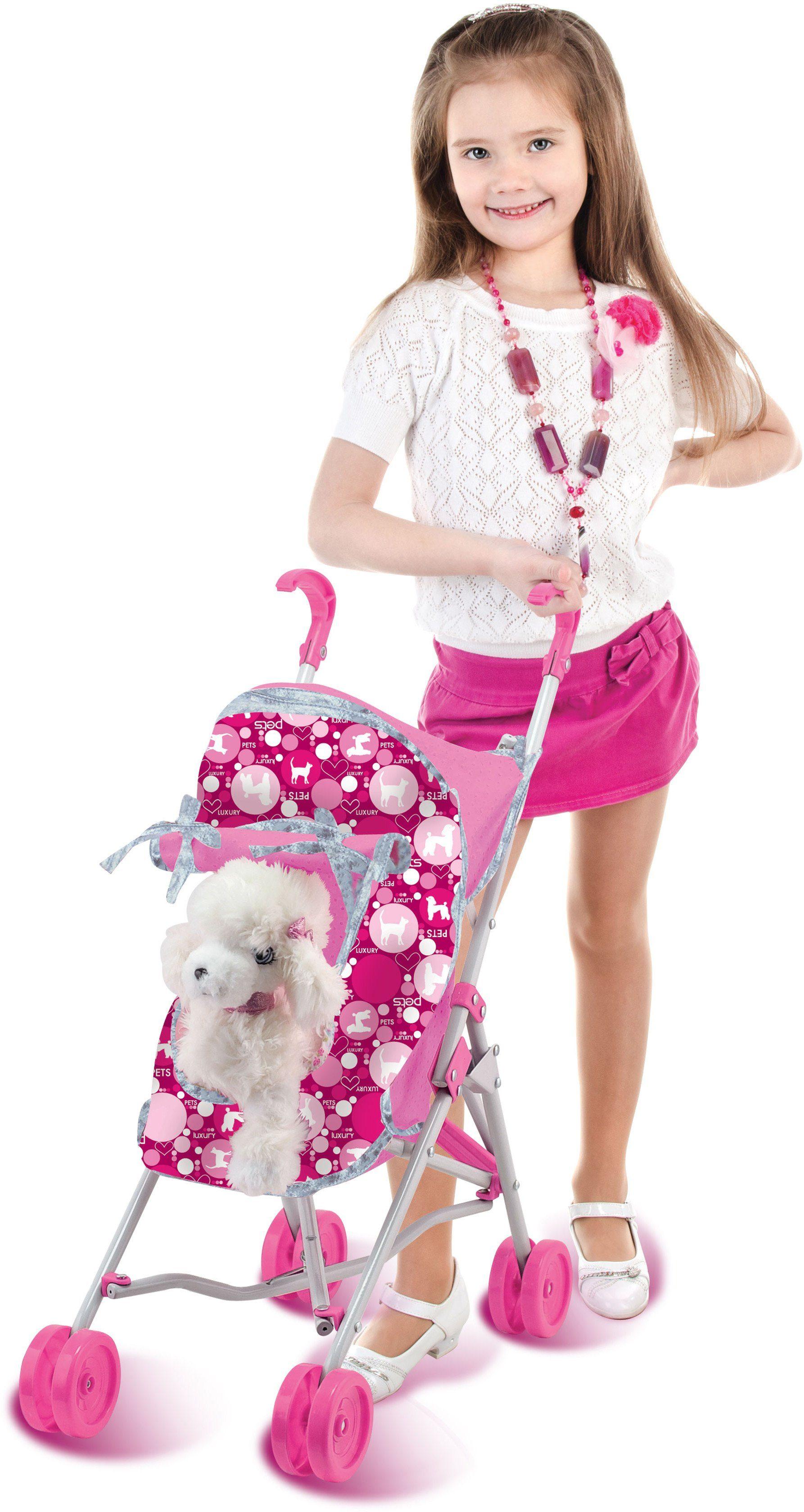 Dimian Hundebuggy mit Stofftier Hund, »Trendiger Plüschhund mit Buggy«