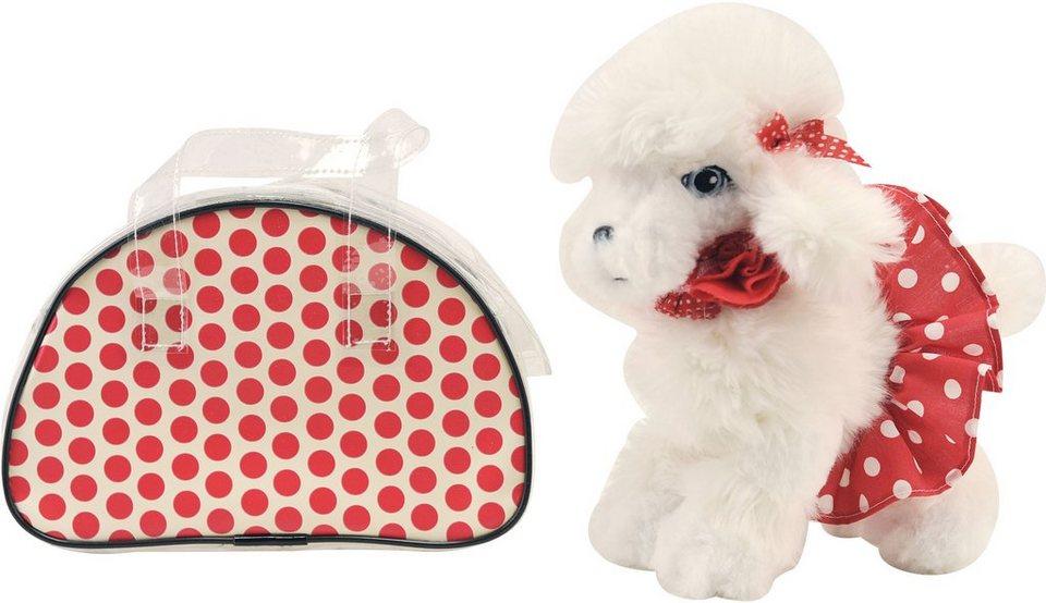 Dimian Stofftier Hund mit Handtasche, »Trendiger Plüschhund mit modischer roter Tragetasche« in bunt