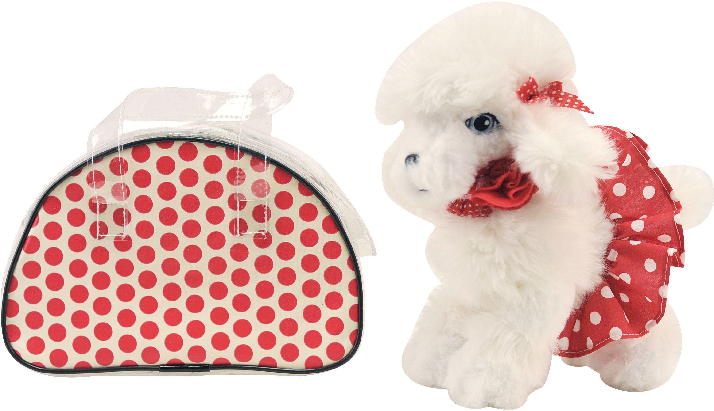 Dimian Stofftier Hund mit Handtasche, »Trendiger Plüschhund mit modischer roter Tragetasche«