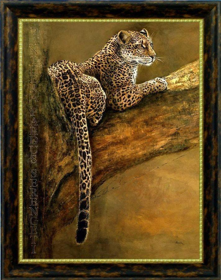 Premium Picture Wandbild »Leopard auf Baumast«, 60/80 cm in braun