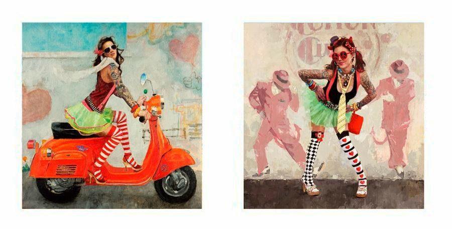 Premium Picture Deco-Panel »Girlie mit Roller/Girlie«, 2x 30/30 cm