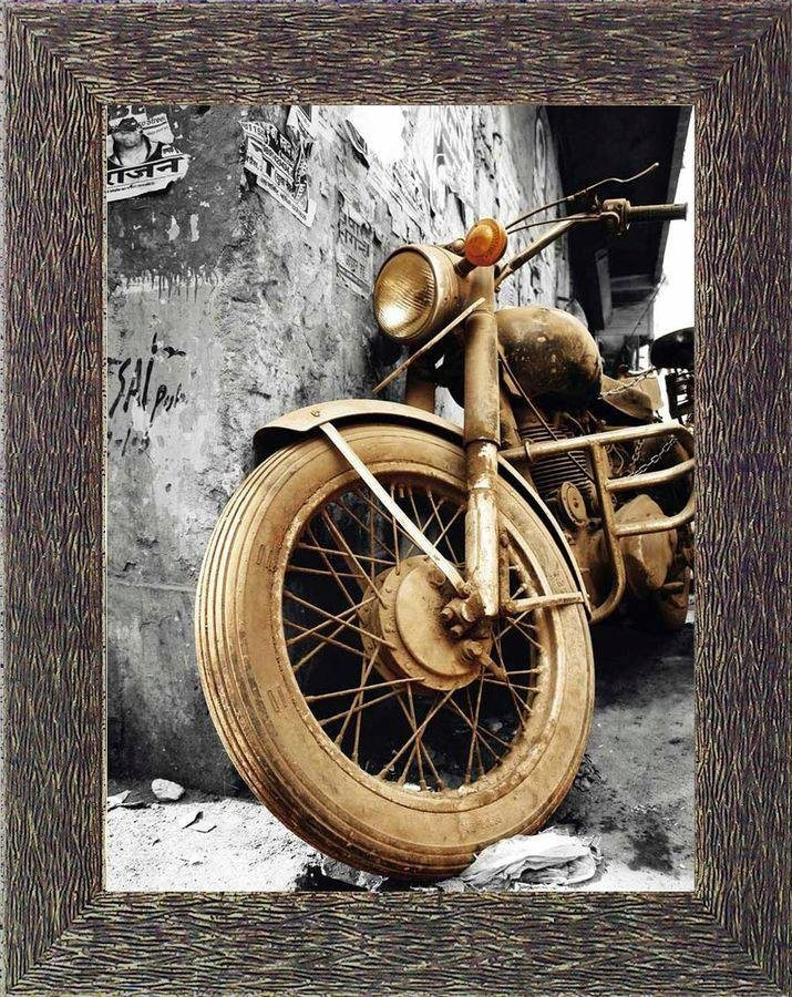 Premium Picture Wandbild »Motorrad angelehnt«, 60/80 cm in sepia/grau