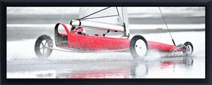 Premium Picture Schattenfugenbild »Strandsurfer/Kitebuggyfahrer«, 95/33 cm in weiß/schwarz