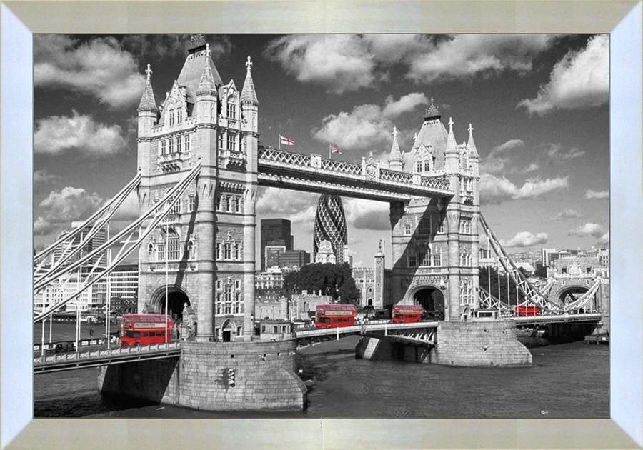 Premium Picture Wandbild »London Bridge England«, 90/60 cm in grau
