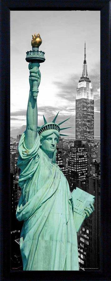 Premium Picture Schattenfugenbild »Freiheitsstatue/New York«, 30/90 cm in schwarz/weiß