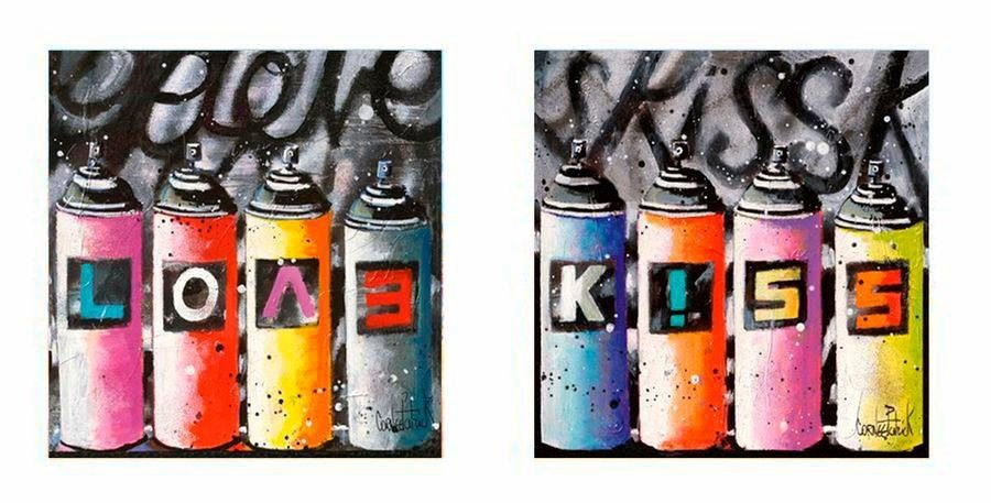 Premium Picture Deco-Panel »Spraydosen: Love and Kiss«, 2x 30/30 cm
